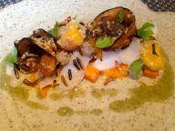 Salt Cod and pumpkin / egg yolk and chicken liver