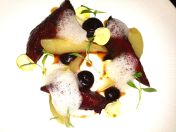 Wirral Pigeon with pear, chestnut and date puree