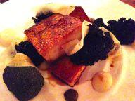 Pork Jowl with Bury black pudding, purple kale and pickled turnip
