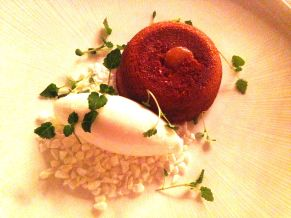 Salted caramel with fondant and yoghurt sorbet