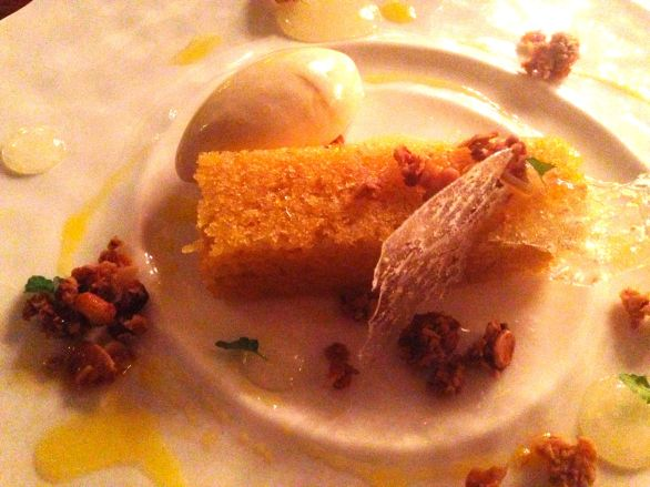 Rapeseed oil cake with BBQ pine kernel ice cream