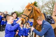 School Children meeting Anthony Condon and Oscar the Horse