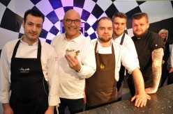 SW27316A Chester Racecourse, The Chester Food, Drink & Lifestyle Festival. Picture CH1 Chester BID Sous Chef Challenge Finalists Sergio Alonso from Chez Jules, TV Celebrity presenter Greg Wallace from BBC TV's Master Chef, Mike Hodges from Upstairs at the Grill, Harry Redmayne from Bar Lounge and Jack Hughes from the Coach House.