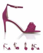 Alexander White eva ruffle sandal in raspberry