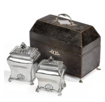Georgian sterling silver double tea-caddy by Peter Gillois, with its original fitted shagreen box, London, 1759, £5,500 from Stephen Kalms Antiques