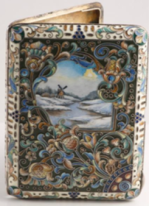 A Russian shaded enamel case from the 6th Artel of Moscow, c.1900, £4,500 from Shapiro and Co