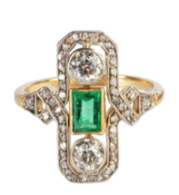 18ct gold, platinum Colombian emerald and diamond ring, c. 1910, £3,350 from T Robert