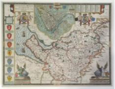 John Speed's map of his birth county, Cheshire, 1627 (later hand coloured), £1,350 from J Dickinson Maps and Prints