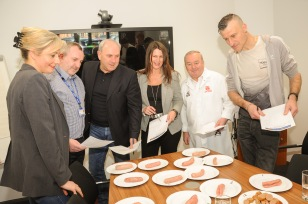 University of Chester Now Food Centre, judging of the traditional and flavered sausage competition, for the Chester Food, Drink and Lifestyle Festival. Picture judges Emma Shawcross Chef, Jeff George of University of Chester Now Food Centre Manager, Stephen Wundke of Chester Food, Drink and Lifestyle Festival, Sallie Ellen of Cheshire Live, Champion sausage and Butcher Stephen Vaughan of Vaughan's Butchers Pen y Ffordd and Gavin Matthews of Dee 106.3 Radio. SW26219C