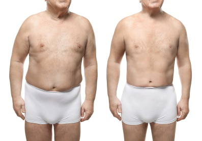 Senior man before and after weight loss on white background