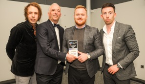 Chester Racecorse, Taste Cheshire Food and Drink Awards 2019. Picture Excelence in Customer Care award to Deadwood Smokehouse. presented by Jamie Christon of Chester Zoo to Aiden Donivan of Deadwood Smokehouse. SW2342019