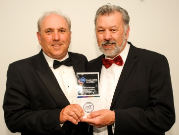Chester Racecorse, Taste Cheshire Food and Drink Awards 2019. Picture Outstanding Achievement Award presented to Brian Meller by Stephen Wundke of Taste Cheshire. SW2342019