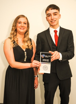 Chester Racecorse, Taste Cheshire Food and Drink Awards 2019. Picture Young Chef of the Year Matthew Norman presented by Amy Hall of Nisbets. SW2342019